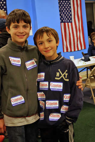 Cristin McCarthy Vahey's sons Daniel and Gabriel show who they supported in Tuesday's election. Vahey was elected to represent the 133rd district in the General Assembly. Photo: Genevieve Reilly / Fairfield Citizen