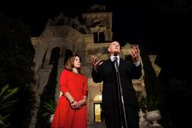 Gov. Jerry Brown, with Anne Gust Brown, speaks to the media after being reelected to a fourth term in front of the Governor's Mansion in Sacramento, California, November 4, 2014.