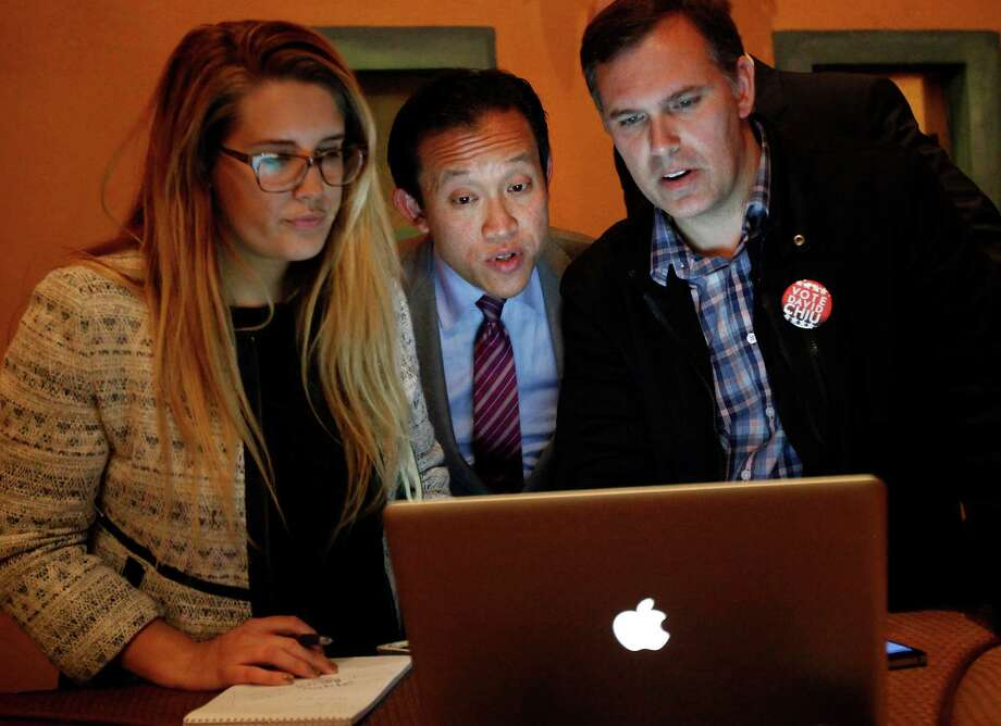 David Chiu looks over election results at his party in San Francisco on Nov. 4, 2014. Photo: Sarah Rice / Special To The Chronicle / ONLINE_YES