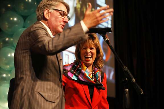 U.S. Representative Jackie Speier laughs as she is introduced by Clint Reilly, owner of the Julia Morgan Ballroom, at a party on Nov. 4, 2014 in San Francisco, Calif.