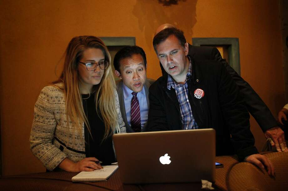 David Chiu looks over election results at his party in San Francisco, Calif., on Tuesday, November 4, 2014. Photo: Sarah Rice, Special To The Chronicle