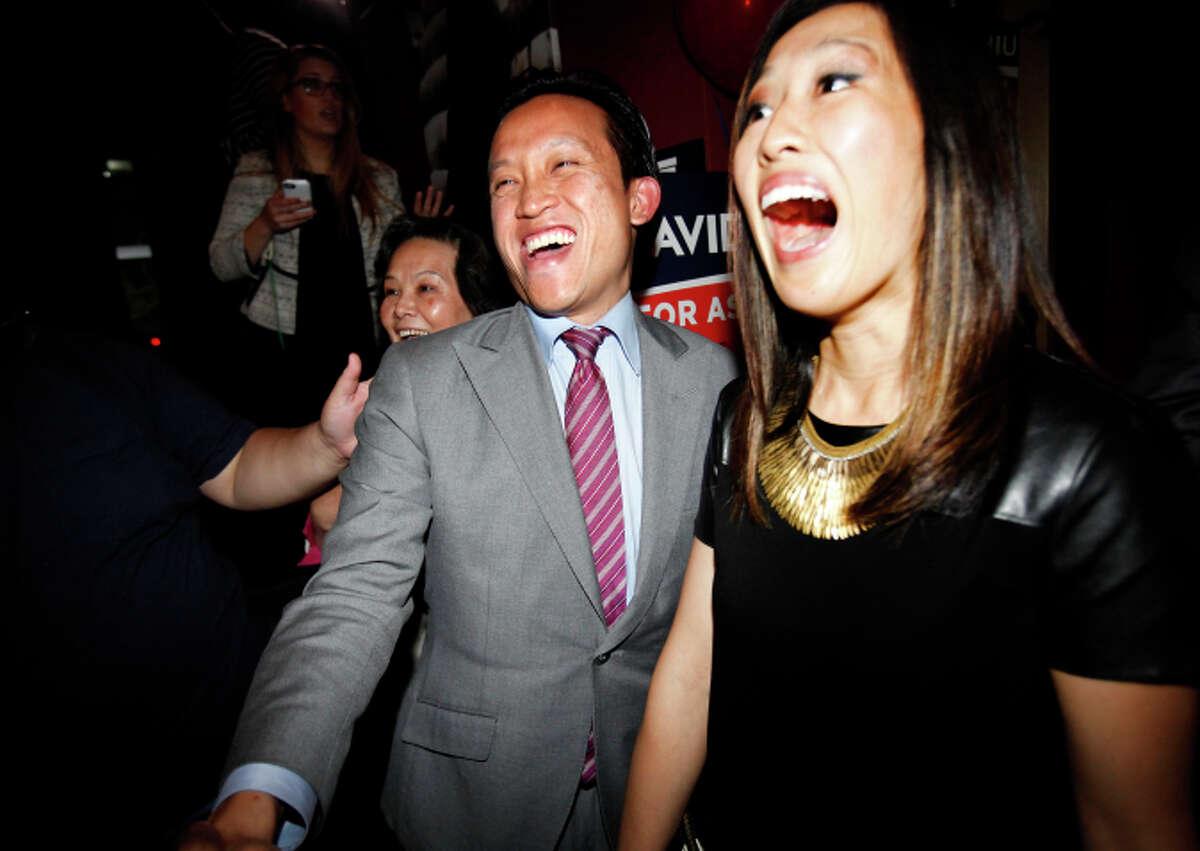 David Chiu arrives at his election night party in San Francisco on Nov. 4, 2014.