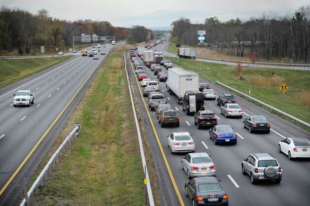 Traffic is backed up on Interstate 87 heading south is this view from the Route 7  overpass on Wednesday, Nov. 5, 2014, in Latham, N.Y.  (Paul Buckowski / Times Union) Photo: Paul Buckowski / 00029340A
