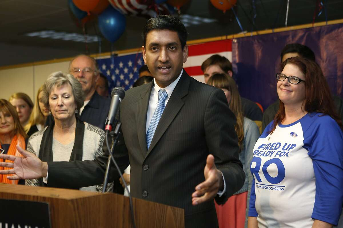 Ro Khanna, 17th Congressional District candidate, greets supporters at his campaign headquarters in Santa Clara, Calif., on Tuesday, Nov. 4, 2014. (AP Photo/San Jose Mercury News, Jim Gensheimer)