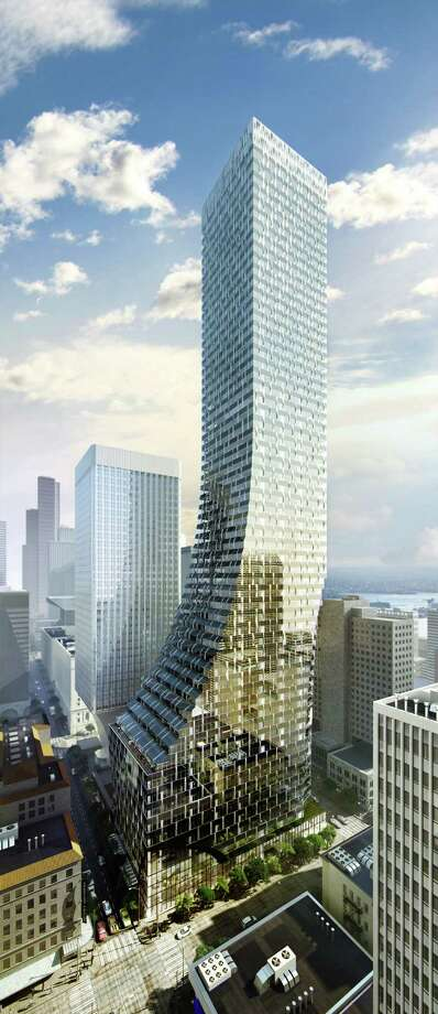 The updated look of the proposed tower beside Rainier Tower is shown in this artist's depiction. Photo: NBBJ/MOTYW