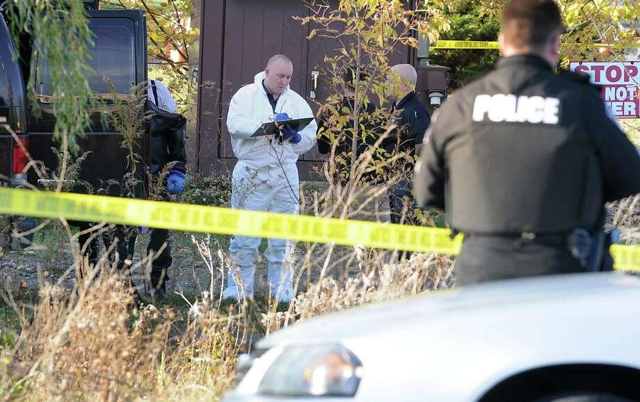 Police investigate an area where a badly decomposed body was found near a bridge by 33 Freemans Bridge Rd. on Wednesday, Nov. 5, 2014 in Glenville, N.Y. (Lori Van Buren / Times Union) Photo: Lori Van Buren / 00029373A