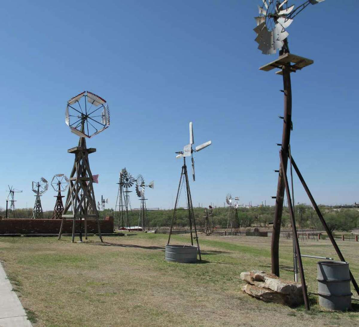 40. Lubbock In this photo, American Wind Power Center in Lubbock shows a variety of wilndmill styles.