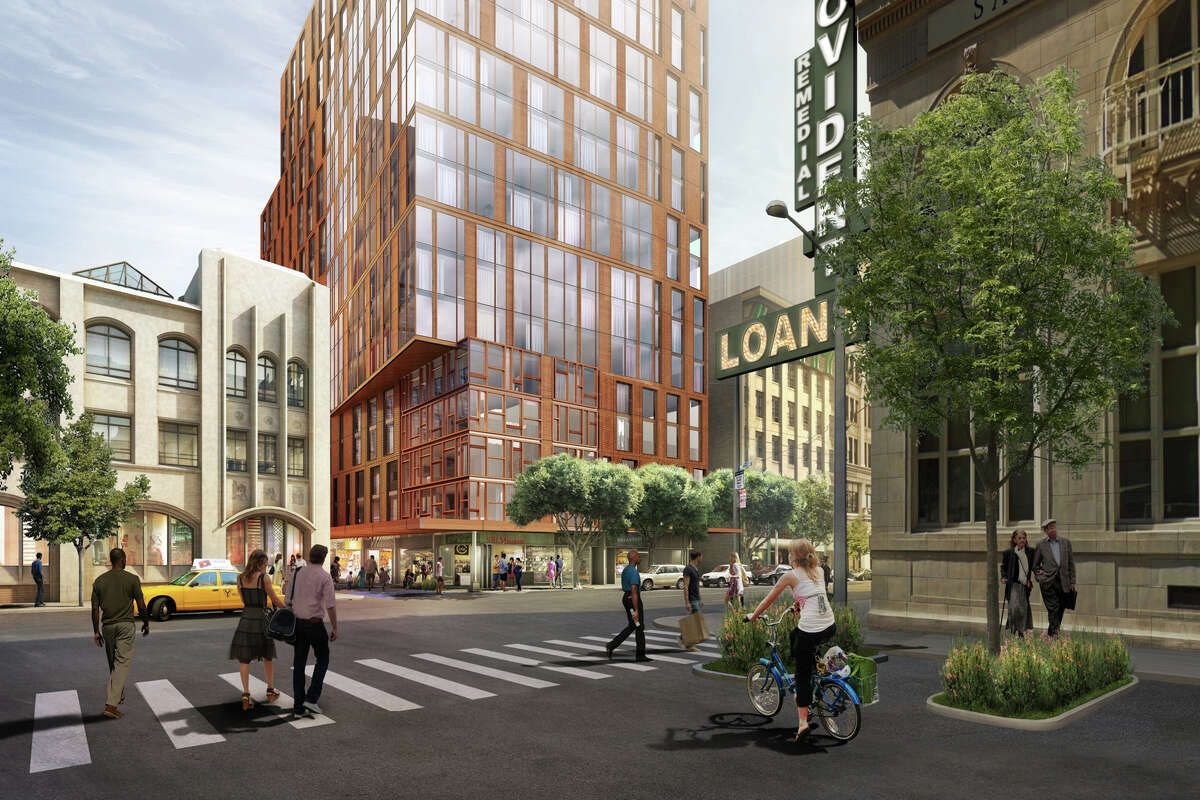 The proposed 5M complex would include a 20-story apartment building to the west of the existing Chronicle building (left). The designs, which are still at an initial stage, are by the architectural firm Kohn Pedersen Fox. The development would be a joint venture of Hearst Corp., which owns The Chronicle, and Forest City.