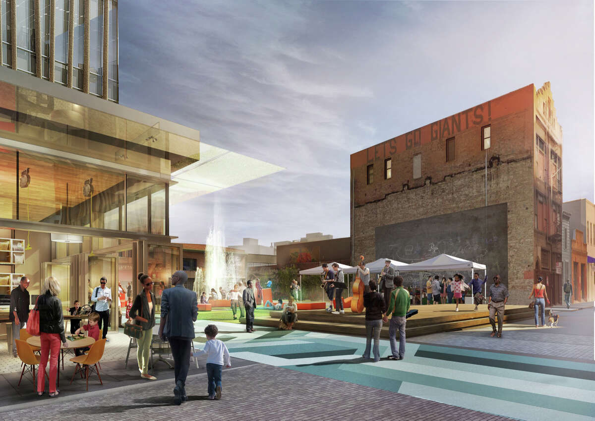 Hearst Corp. and developer Forest City have proposed a huge mixed-use complex behind The Chronicle with office towers, residential high-rises ... and a public plaza that comes complete with jamming hipsters and high-spirited youth.