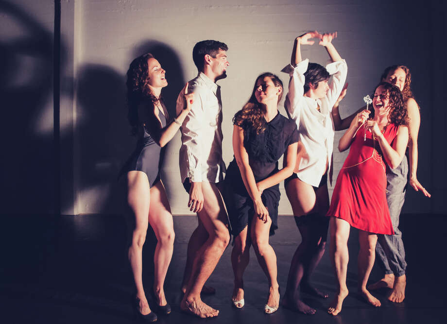 Dancers Liane Burns (left), Parker Murphy, Catherine Newman, LizAnne Roman Roberts, Michaela Burns and Amanda Whitehead perform in Charles Slender-White's Fact/SF company program at ODC Theater in San Francisco. Photo: Kegan Marling / Kegan Marling / ONLINE_YES