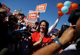 Schaaf, clear winner of the ranked-choice vote, celebrates with supporters at Lake Merritt the day after the election.