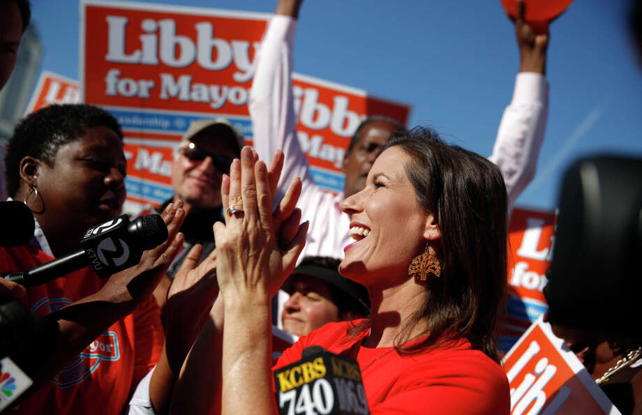 Oakland mayor-elect Libby Schaaf cheers with supporters as she thanks the people of Oakland while speaking at Lake Merritt on Wednesday, November 5, 2014 in Oakland, Calif. Photo: Lea Suzuki / The Chronicle / ONLINE_YES