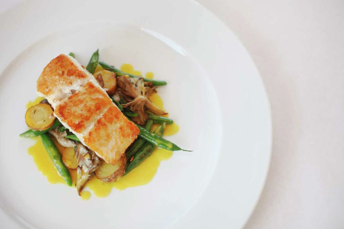 Pan Roasted Pacific Ling Cod with Bluelake Beans, Fingerling Potatoes, Maitake Mushrooms and Saffron Butter Sauce at Terrapin Creek.