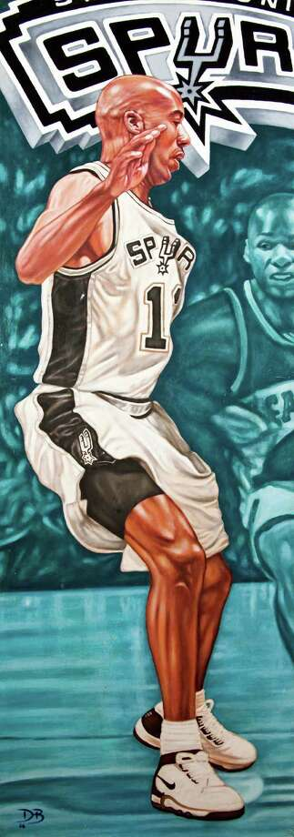 """""""The Defender,"""" a portrait of Spurs guard Bruce Bowen  by David Blancas will be at  """"Go Spurs Show,"""" an art show dedicated to the Spurs. The opening is at Studio One Zero Three, 721 S. Presa St. at 6 p.m. Friday. Photo: Jenelle Esparza, Courtesy Photo"""