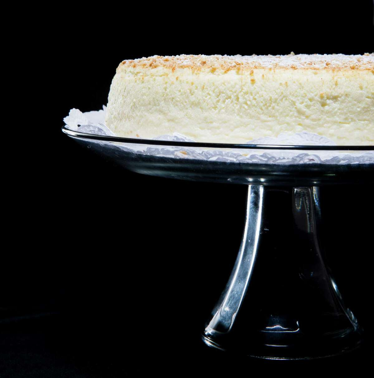 Sam Zanze's uses his father's cheesecake recipe, which doesn't use butter or flour. No dense graham cracker crust, either.