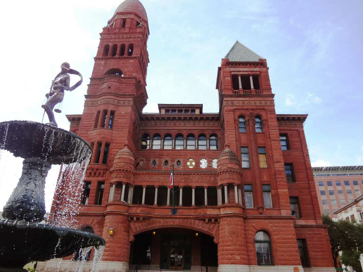 Work continued at the Bexar County Courthouse double-height courtroom early this month. The courtroom, on the second floor of the courthouse, is being renovated to its 1890's look and is nearly completed. The column capitals are replicas of one found in the attic at the courthouse.