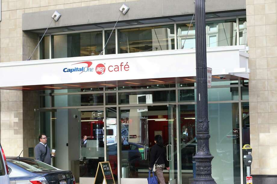 Capital One inherited this bank/cafe at Post and Kearny streets in San Francisco when it acquired ING Direct in 2012. It will retain this space, which includes offices above, after it opens a new innovation center at 3rd and Howard streets later this year. Photo: Courtesy Capital One / ONLINE_YES