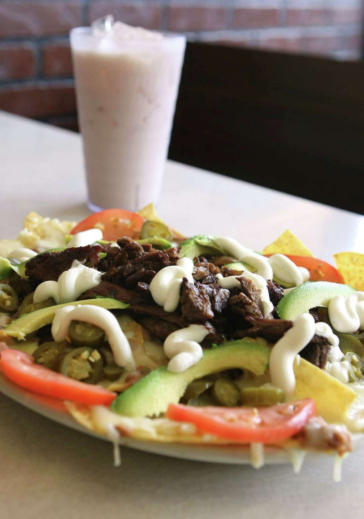 Beef nachos and horchata at Taqueria Datapoint.