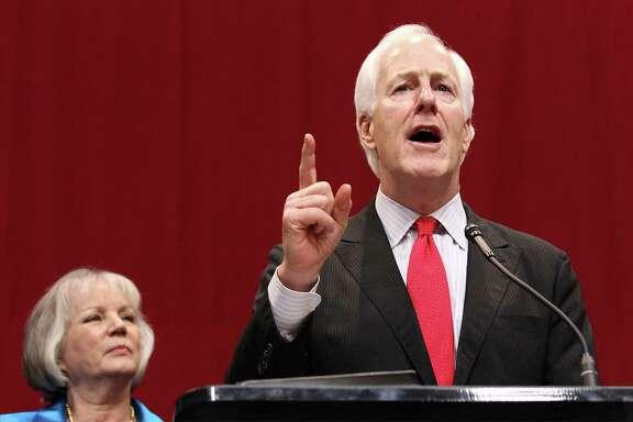 U.S. Senator John Cornyn speaks to the audience at the GOP election night party in Austin on Tuesday, Nov. 4, 2014. (Kin Man Hui/San Antonio Express-News)