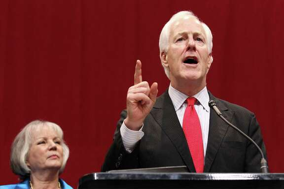 U.S. Senator John Cornyn speaks to the audience at the GOP election night party in Austin on Tuesday, Nov. 4, 2014. (Kin Man Hui/San Antonio Express-News)