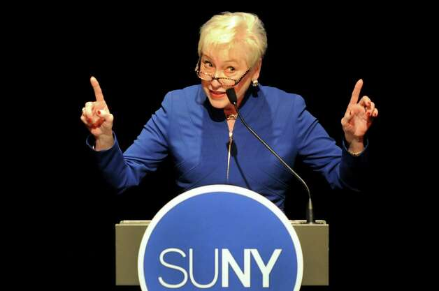 State University of New York Chancellor Nancy L. Zimpher delivers her fourth annual State of the University Address on Tuesday, Jan. 14, 2014, at The Egg in Albany, N.Y. (Cindy Schultz / Times Union) Photo: Cindy Schultz / 00025332A