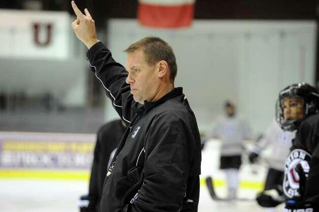 Union College men's hockey head coach Rick Bennett runs his team through a practice on Wednesday Oct. 9, 2013 in Schenectady, N.Y. (Michael P. Farrell/Times Union) Photo: Michael P. Farrell / 00024176A