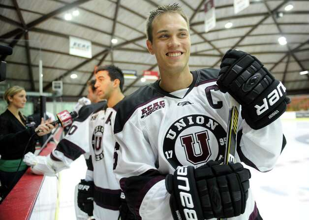Union College hockey player Charlie Vasaturo finishes an interview during their annual media day on Friday, Oct. 3, 2014 in Schenectady, N.Y. (Lori Van Buren / Times Union) Photo: Lori Van Buren / 10028822A