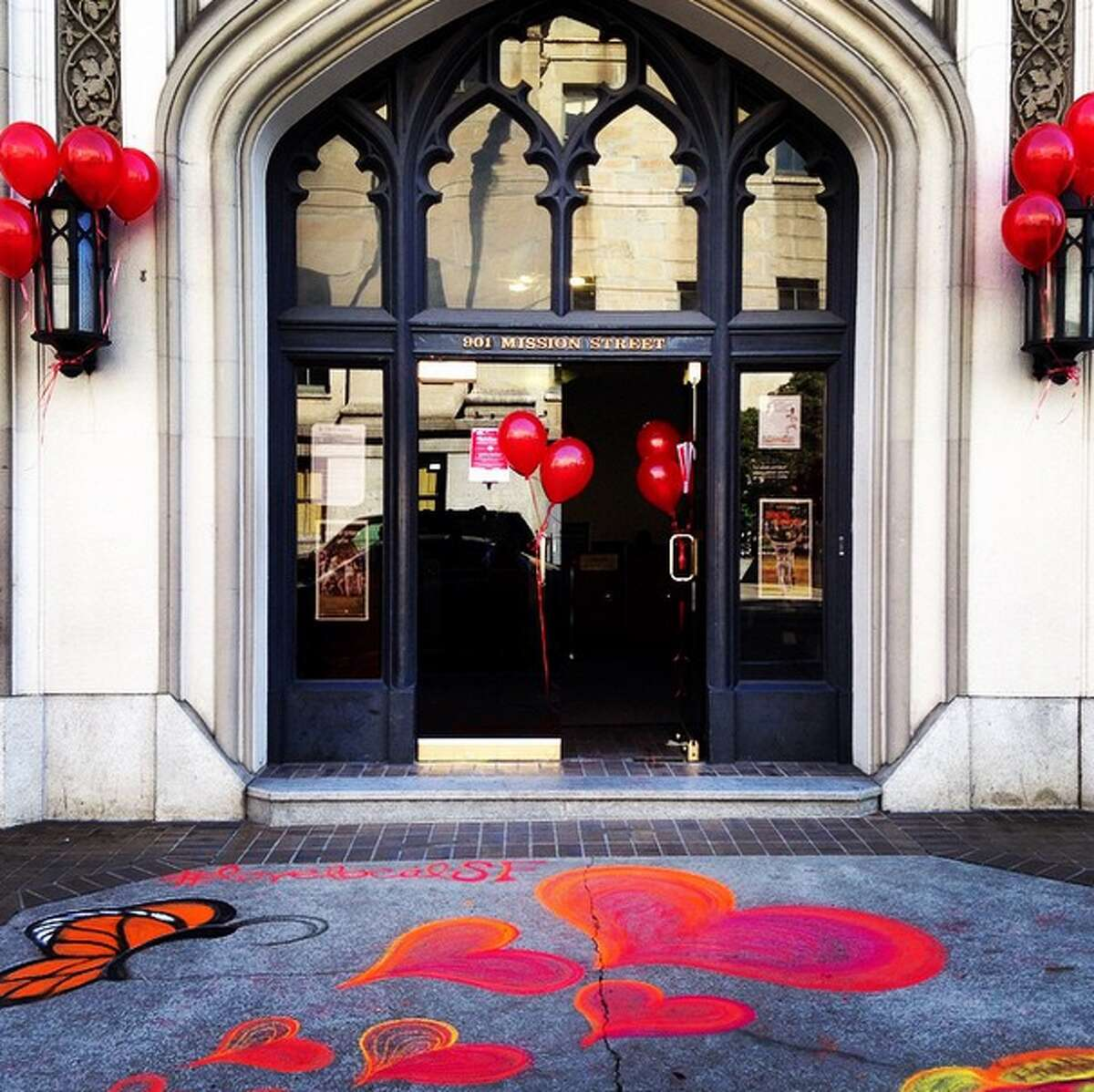 The front of the San Francisco Chronicle building decorated for Love Local SF Day.
