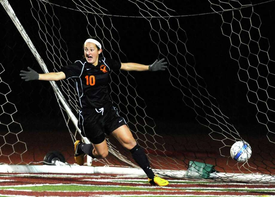 Bethlehem's Kaylee Rickert celebrates scoring the winning goal as Bethlehem defeated Saratoga Springs 2-1 in the girls high school soccer Section II Class AA final at Stillwater High School on Wednesday Nov. 5, 2014 in Stillwater, N.Y. (Michael P. Farrell/Times Union) Photo: Michael P. Farrell / 00029336A