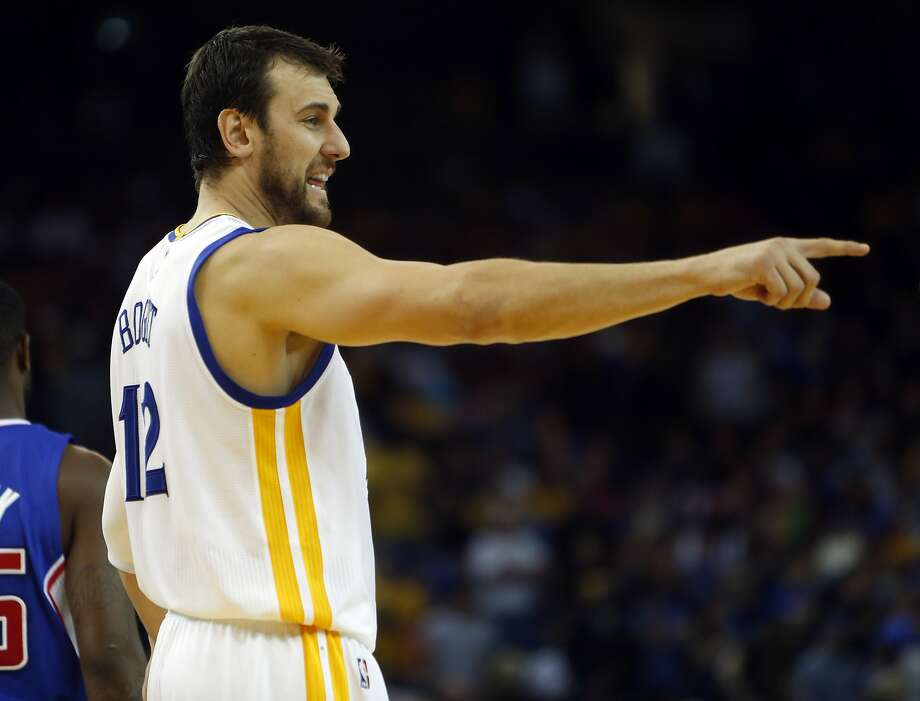 Golden State Warriors' Andrew Bogut points during 4th quarter of Warriors' 121-104 win over Los Angeles Clippers during NBA game at Oracle Arena in Oakland, Calif., on Wednesday, November 5, 2014. Photo: Scott Strazzante, The Chronicle