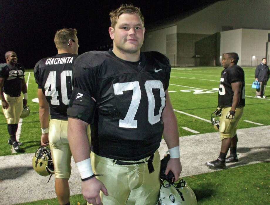 Steve Shumaker of Milford is a senior left guard on the Army football team. Shumaker, a graduate of Notre Dame-West Haven, has started six games this season. He is shown here after practice Wednesday night at West Point. The Black Knights (2-6) will face UConn (2-6) on Saturday at Yankee Stadium. Photo: Staff Photo/Brian Koonz / Connecticut Post Staff