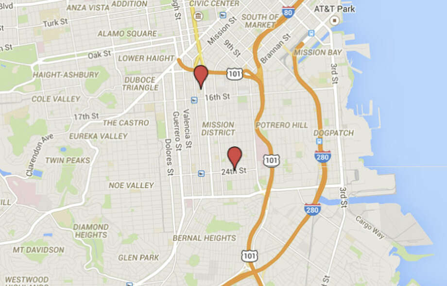 There were two shootings on Wednesday in the Mission:  on 24th and Alabama and 15th and Natoma. Photo: Google Maps