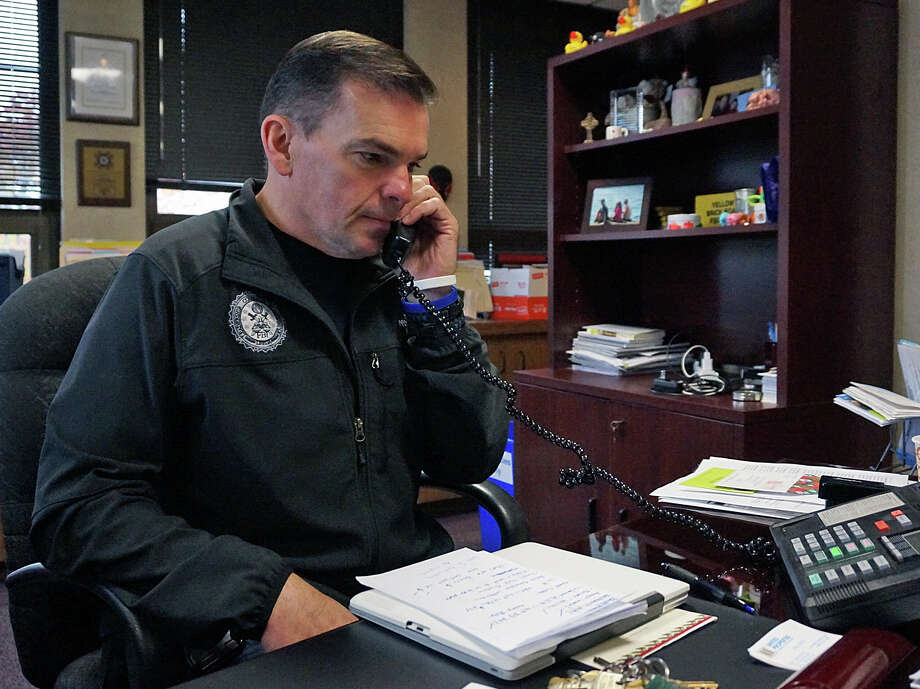 Police Chief Gary MacNamara was back at work Thursday, after two weeks spent at home recuperating from a three-car crash. Photo: Genevieve Reilly / Fairfield Citizen