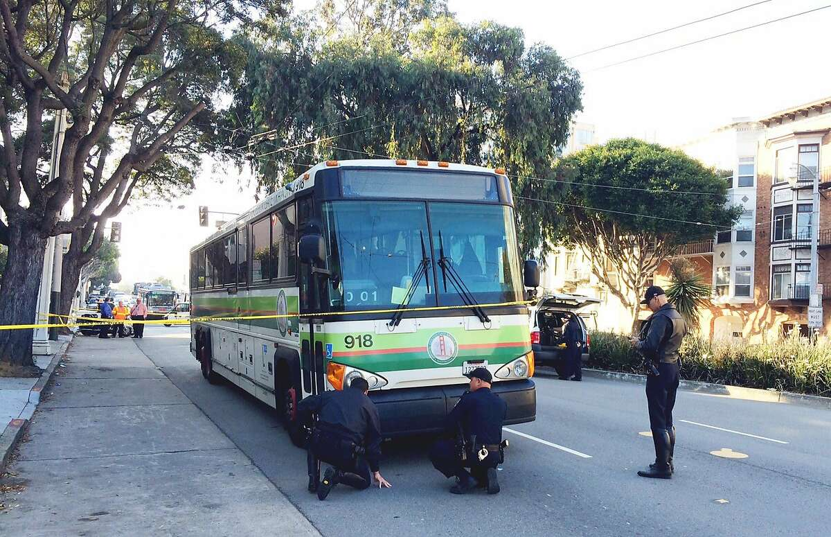 Police investigate the scene where a pedestrian was struck and killed by a Golden Gate Transit bus early Thursday morning, Nov. 6, 2014 at Van Ness Avenue and Lombard Streets.