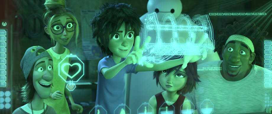 Hiro and Baymax join with a group of computer nerds voiced by T.J. Miller (left), Genesis Rodriguez, Jamie Chung and Damon Wayans Jr. to form the Big Hero 6. Photo: Associated Press / Disney