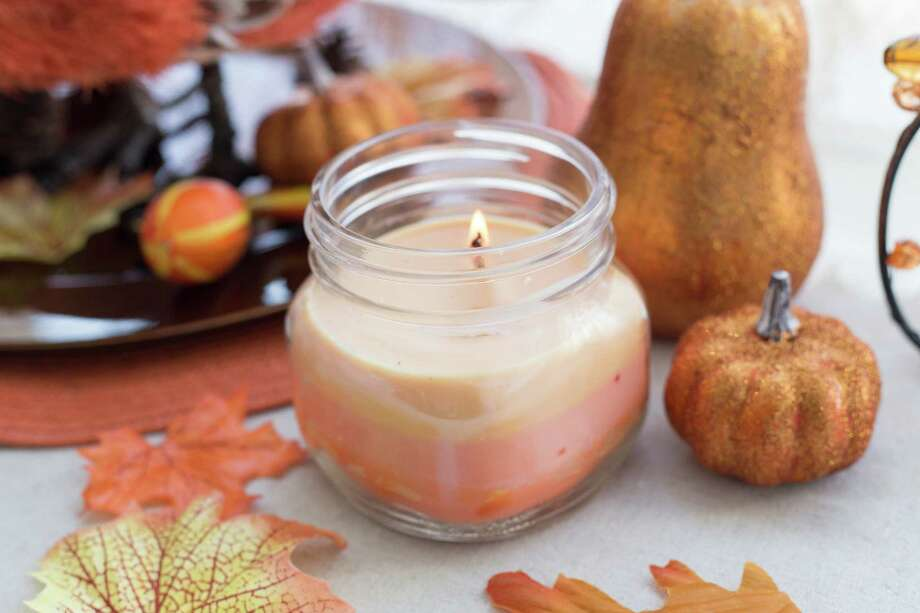 This product image provided by Darby Smart shows a Pumpkin Spice Candle made from a do-it-yourself kit sold by the company. Darby Smart, launched by former investment banker Nicole Farb, finds crafters on Pinterest and elsewhere and then packages their ideas into kits so anyone can make the projects. (AP Photo/Darby Smart) Photo: Uncredited, Associated Press / Associated Press contributed