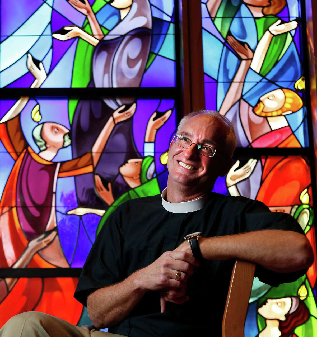 The Reverend Clay Lein, the new rector at St. John's Episcopal Church, Thursday, Oct. 30, 2014, in Houston.
