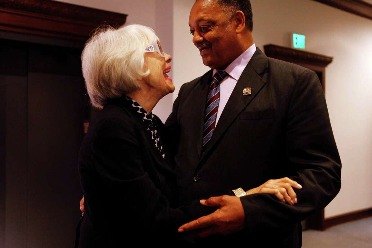 Channing serendipitously meets the Rev. Jesse Jackson during her visit. He was kind and gentle to the star, supporting her as they posed for pictures. to the San Francisco Chronicle on November 5, 2014 in San Francisco, Calif. Channing asked to visit the newsroom because her father's best friend worked at the paper in the 1920s. Reverend Jackson was coincidentally at the newspaper for a meeting with the Chronicle's Editorial Board.