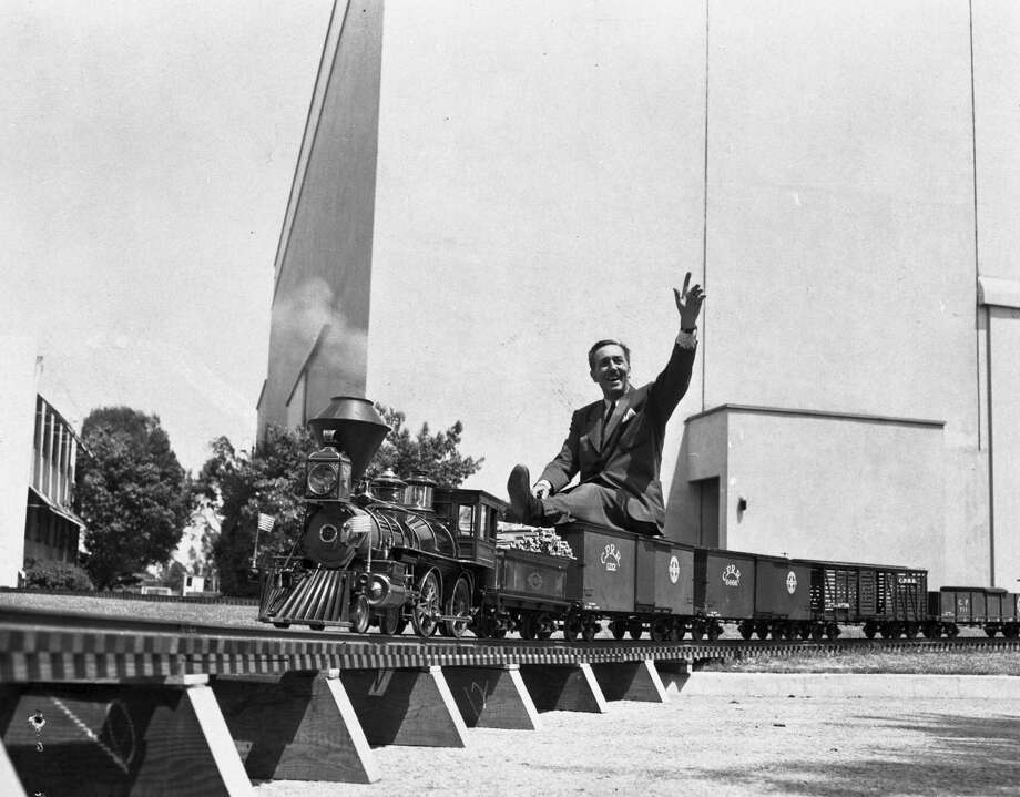 Walt Disney, delighting in a solo ride on his Carolwood Pacific Railroad train towed by the Lilly Belle steam engine around 1951, made sure park visitors can experience the same joy today. Photo: ©Disney / ONLINE_YES