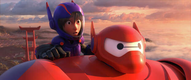 """Big Hero 6""IMDb: 8.4/10Review by Mick LaSalle: 'Big Hero 6' is smart, artful animationFour stars""Big Hero 6"" is, shot after shot, an intelligent and artful creation. There's a scene in which the filmmakers convey a funeral's taking place with a medium shot of black umbrellas opening up. They pull back to show people standing at a cemetery in the rain and then dissolve to a post-funeral gathering, filmed from outside the house through rain-spattered windows. And all the while, the camera is slowly moving. Photo: Disney, HONS / Disney"