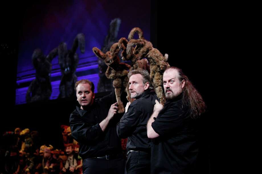 "Puppeteers (from left) Michael Oosterom, Brian Henson and Tyler Bunch take suggestions from the audience and create unique Muppet characters in Henson Alternative's improv puppet show for grown-ups. ""Puppet Up! Uncensored"" runs through Nov. 23 at the Marines Memorial Theatre. Photo by Carol Rosegg Photo: Carol Rosegg / ONLINE_YES"