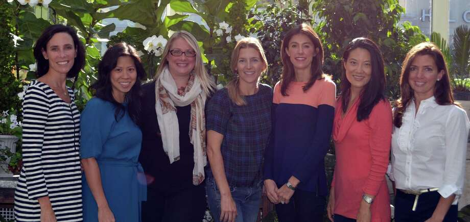 Cookies, Cocktails and a Cause Ladies Night fundraiser committee members Kelly Clifford, from left, Jennifer Fenge, Wistar Wallace, Lori Slotkin, Jennifer Clemow, Jane Lee Song, and Daphne Procopion. Photo: Picasa, Contributed / Darien News Contributed