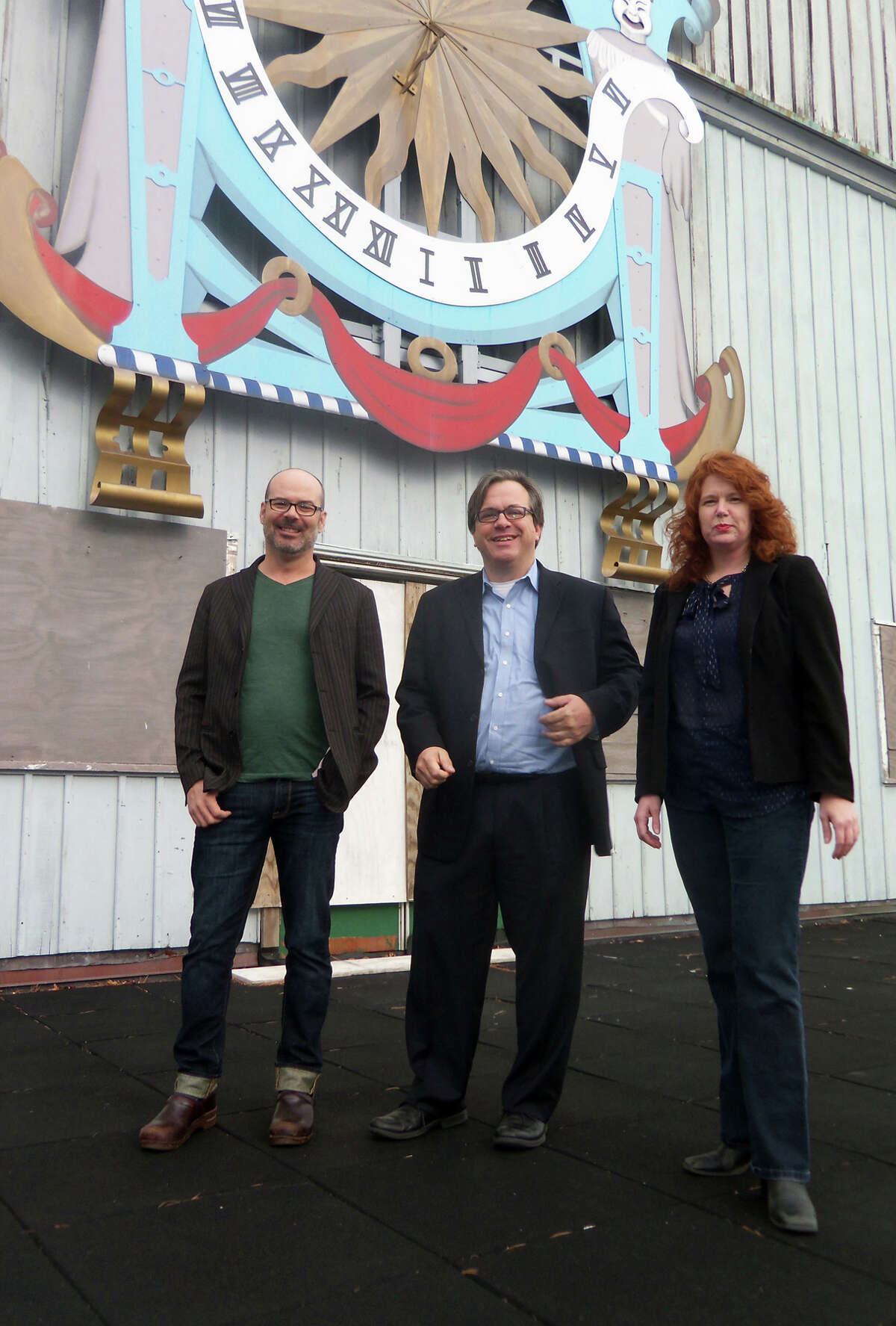 Bob Kennedy, Frank Farricker and Suzanne Cahill stand at the long-shuttered American Shakespeare Festival Theatre in Stratford. Their group, the Elm Street Theatre Company, is seeking approval from the Town Council to restore and operate the theater.