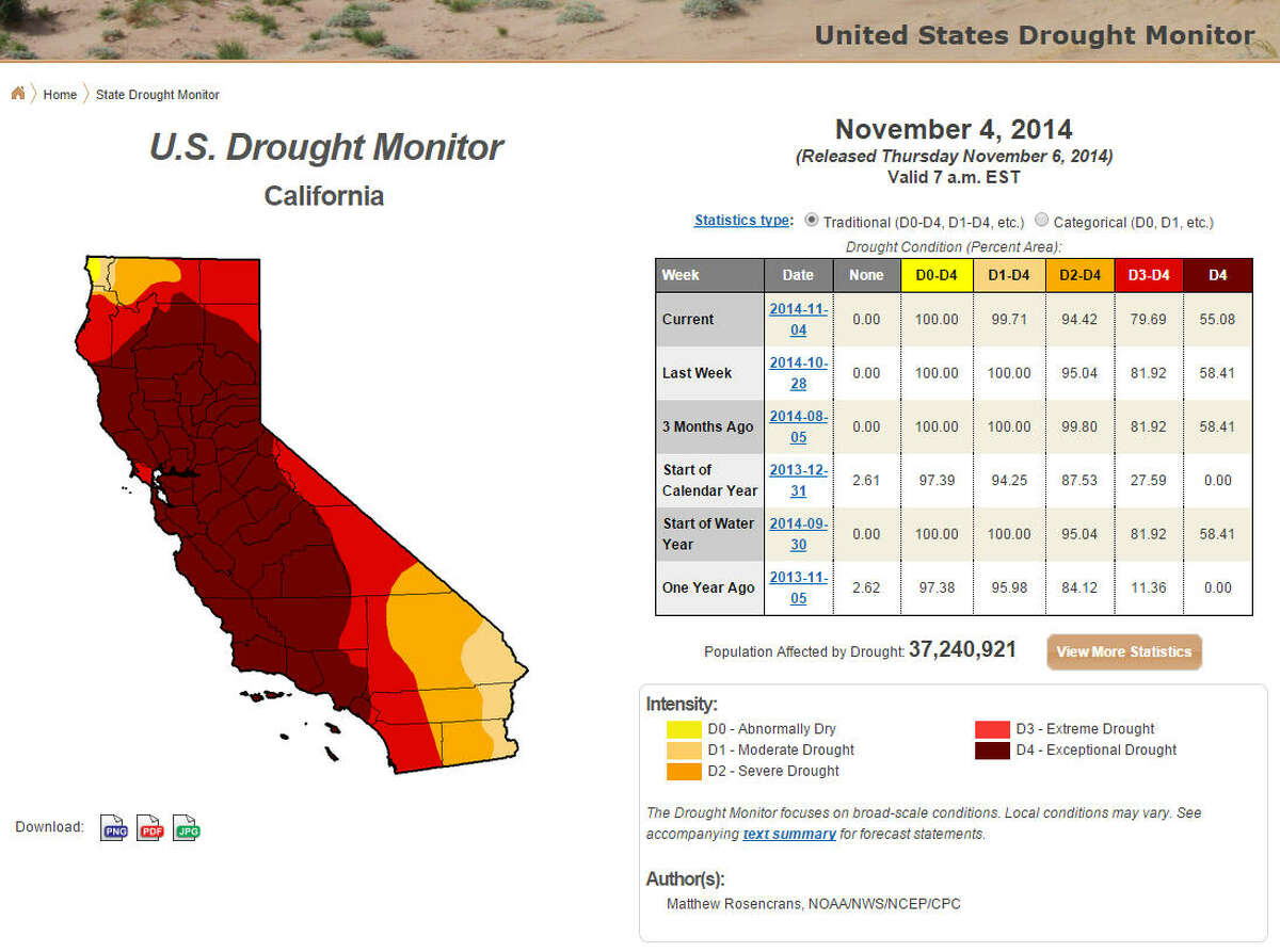 As reported in the U.S. Drought Monitor, Nov. 6, 2014, most of California is in extreme drought. (National Drought Mitigation Center)