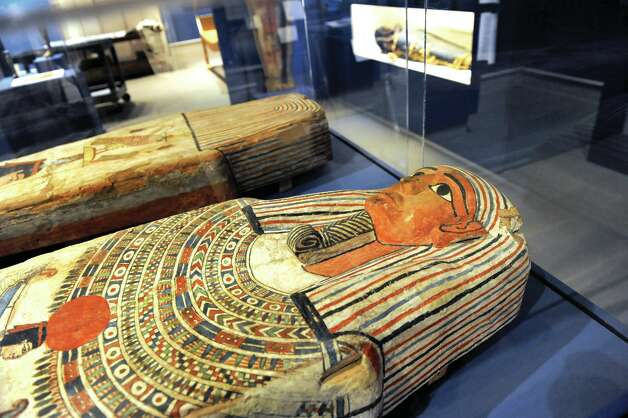 Ptolemaic Period coffin lid and bottom are part of GE Presents: The Mystery of the Albany Mummies at the Albany Institute of History and Art in Albany, N.Y.  (Cindy Schultz / Times Union) Photo: Cindy Schultz / 00023891A