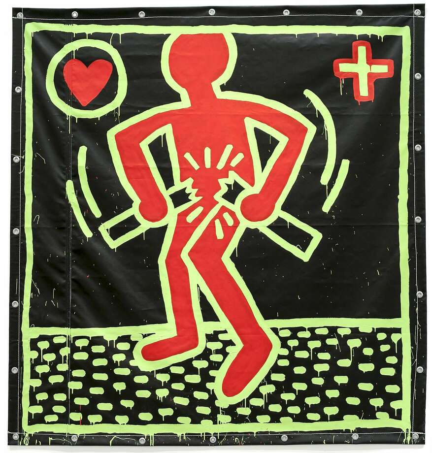 """""""Untitled"""" (1982) Vinyl paint on vinyl tarpaulin by Keith Haring 72 x 72 in. Photo: Unknown, Fine Arts Museums Of S.f."""