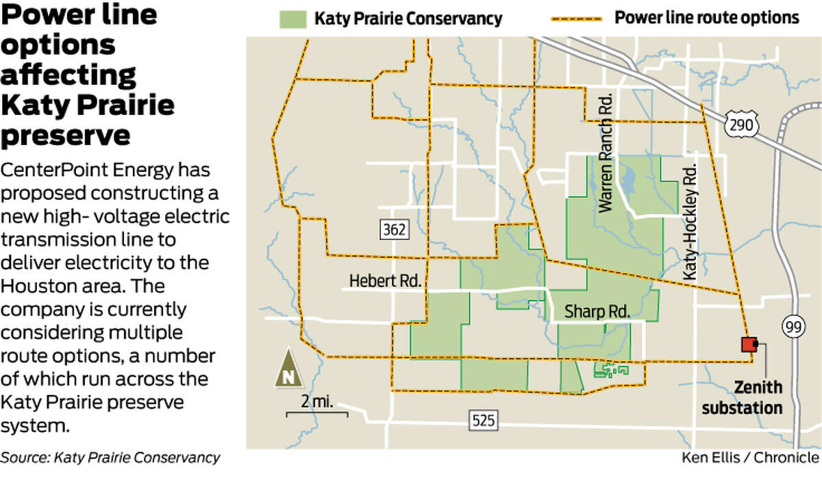 Power line options affecting Katy Prairie preserve CenterPoint Energy has proposed constructing a new high- voltage electric transmission line to deliver electricity to the Houston area. The company is currently considering multiple route options, a number of which run across the Katy Prairie preserve system.