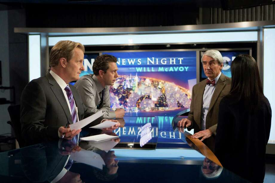 """Jeff Daniels (left), Thomas Sadoski, Sam Waterston and Olivia Munn in the premiere of the third and final season of """"The Newsroom,"""" about a cable-news network struggling to improve its ratings.  The HBO series itself has had mixed-ratings since it debuted in 2012. Photo: Handout / McClatchy-Tribune News Service / MCT"""