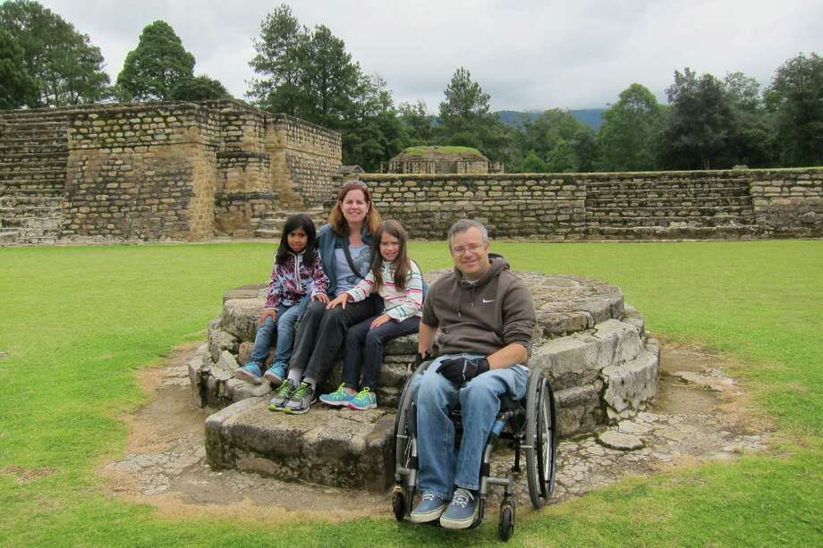 Siobhan Fleming and family, of San Francisco, at the Maya ruins of Iximche in Guatemala. / ONLINE_YES