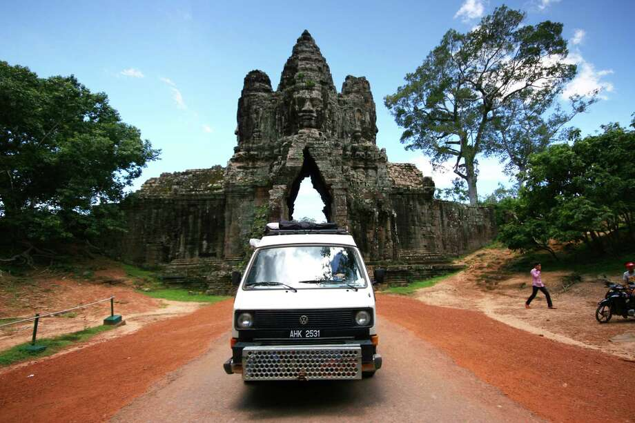 Nacho and crew arrive at the complex of ruins of Angkor Wat near Siem Reap, Cambodia. Photo: Brad And Sheena Van Orden, Drive Nacho Drive / Drive Nacho Drive